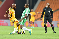 Johannesburg. Gauteng. Kaizer Chiefs player Ramahlwe Mphahlele and Bloemfontein Celtic player Roland Pfumbidzai clash during the ABSA premiership at FNB Stadium.<br /> Picture: Itumeleng English/ African News Agency /ANA Kaizer Chiefs v Bloem Celtic