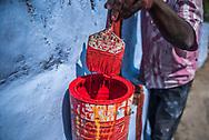 Repainting Sri Subramaniya Swamy Hindu Temple blue, Munnar, Western Ghats Mountains, Kerala, India