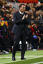 February 21, 2019 - Valencia, Spain - Brendan Rodgers Celtic FC manager during round of 32 Second leg of UEFA Europa league  match between Valencia CF vs Celtic at Mestalla Stadium on February 21, 2019. (Photo by Jose Miguel Fernandez/NurPhoto) (Credit Image: © Jose Miguel Fernandez/NurPhoto via ZUMA Press)