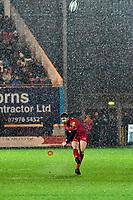 Rugby Union - 2017 / 2018 Guinness Pro14 - Scarlets vs. Ospreys<br /> <br /> Leigh Halfpenny of Llanelli Scarlets  kicks at goal n heavy rain , at Parc y Scarlets.<br /> <br /> COLORSPORT/WINSTON BYNORTH