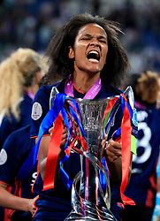 Olympic Lyonnais' Captain Wendie Renard celebrates after winning the UEFA Women's Champions League Final