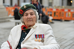 © Licensed to London News Pictures. 10/11/2017. London, UK. The only female holder of the Burma Star, Constance Halford-Thompson, 90yrs, who signed up underage before the fall of Singapore., joins members of the Chelsea Arts Club assemble to drill at The Royal Academy of Arts honoring their predecessors who in 1914 formed a corps called the United Arts Rifles, or the 'Unshrinkables' owing to their unorthodox dress before issue of uniform (made up largely of woollen cricket whites, advertised as 'unshrinkable'). They will parade once more in 2018, marking the end of the Great War. Photo credit: Guilhem Baker/LNP<br /> <br /> Royal Academy of Arts Unshrinkables Remembrance Parade.  Photo credit: PHOTOGRAPHERS NAME/LNP