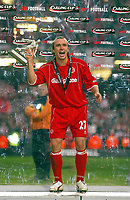 Photo: Scott Heavey.<br /> Middlesbrough v Bolton Wanderers. Carling Cup Final. 29/02/2004.<br /> Bolo Zenden celebrates the win with his man of the match trophy