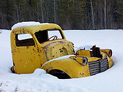 Antique truck abandoned along the South Canol Road, Yukon Territory, Canada