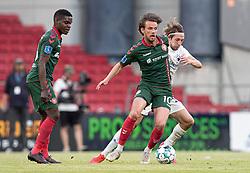 Lucas Andersen (AaB) og Rasmus Falk (FC København) under kampen i 3F Superligaen mellem FC København og AaB den 17. juni 2020 i Telia Parken, København (Foto: Claus Birch).