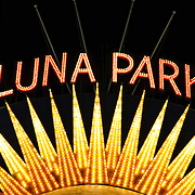 Illuminated sign to Luna Park, an historic amusement park on Sydney Harbour, Sydney, Australia.