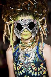 February 28, 2019 - Paris, France - A model walks the runway at the Manish Arora Ready to Wear fashion show at Paris Fashion Week Autumn/Winter 2019/2020 in Paris, France. (Credit Image: © Panoramic via ZUMA Press)