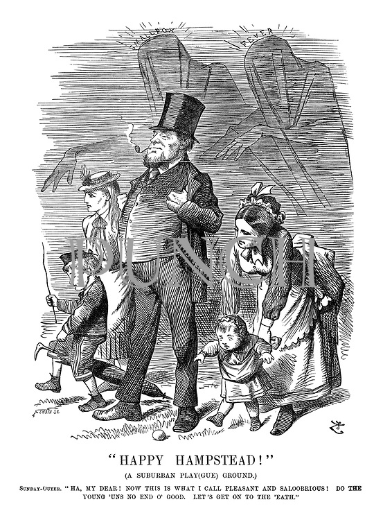 """""""Happy Hampstead!"""" (A suburban play(gue) ground.) Sunday-outer. """"Ha, my dear! Now this is what I call pleasant and saloobrious! Do the young 'uns no end o' good. Let's get on to the 'eath."""""""