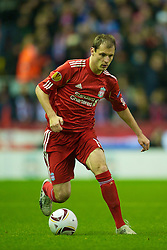 LIVERPOOL, ENGLAND - Wednesday, December 15, 2010: Liverpool's Milan Jovanovic in action against FC Utrecht during the UEFA Europa League Group K match at Anfield. (Photo by: David Rawcliffe/Propaganda)