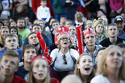 July 7, 2018 - Saint-Petersburg, Russia - Russia's fans watch the quarterfinal match between Russia and Croatia at the FIFA Fan Zone of the 2018 soccer World Cup in Saint-Petersburg, Russia. (Credit Image: © Elena Ignatyeva via ZUMA Wire)