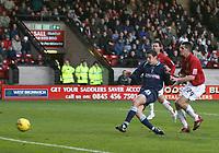 Photo:Mark Stephenson,Walsall fc v Swindon Town.<br />Coca Cola league 2,9-12-2006<br />Swindons Lucas Jutkiewicz scores the firet haif goal.