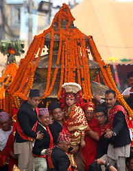 September 5, 2017 - Kathmandu, Nepal - People participate. the procession during Indrajatra festival at Hanuman Dhoka Durbar Square in Kathmandu, Nepal. Indra Jatra is an eight day festival with a chariot procession dedicated to Goddess Kumari, Lord Ganesh and Bhairav, as well as worshiping Indra, the king of gods. (Credit Image: © Archana Shrestha/Pacific Press via ZUMA Wire)