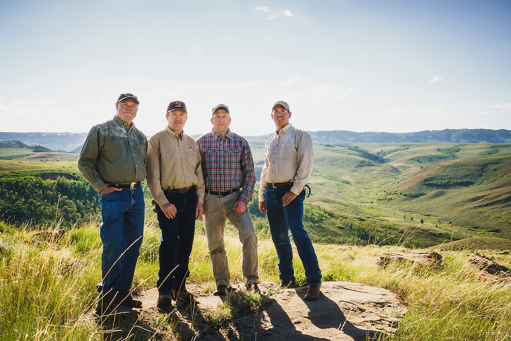 Birch Creek easement and conservation was made possible with help from the Rocky Mountain Elk Foundation. Landowner Allen Barber, DWR biologist Scott Walker, landowner Andrew Barber, and landowner Dan Dyger, look down on Birch Creek from Strawberry Ridge, Utah.