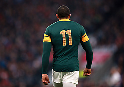South Africa's Bryan Habana during the Rugby World Cup, Semi Final at Twickenham Stadium, London. PRESS ASSOCIATION Photo. Picture date: Saturday October 24, 2015. See PA story RUGBYU South Africa. Photo credit should read: David Davies/PA Wire. RESTRICTIONS: Editorial use only. Strictly no commercial use or association without RWCL permission. Still image use only. Use implies acceptance of Section 6 of RWC 2015 T&Cs at: http://bit.ly/1MPElTL Call +44 (0)1158 447447 for further info.