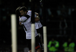Andreas Weimann of Derby County (R) celebrates scoring his sides second gosal - Mandatory byline: Jack Phillips / JMP - 07966386802 - 21/11/2015 - FOOTBALL - The iPro Stadium - Derby, Derbyshire - Derby County v Cardiff City - Sky Bet Championship