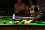 Ronnie O'Sullivan of England in action during his match against Tian Pengfei . Betvictor Welsh Open snooker 2016, day 2 at the Motorpoint Arena in Cardiff, South Wales on Tuesday 16th Feb 2016.  <br /> pic by Andrew Orchard, Andrew Orchard sports photography.