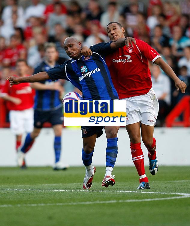 Photo: Steve Bond/Richard Lane Photography. Nottingham Forest v Sunderland. Pre Season Friendy. 29/07/2008. El Hadji Diouf (L) and Kelvin Wilson (R) tangle
