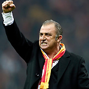 Galatasaray's coach Fatih Terim Positive emotion during their Turkish superleague soccer derby match Galatasaray between Besiktas at the TT Arena at Seyrantepe in Istanbul Turkey on Sunday, 26 February 2012. Photo by TURKPIX