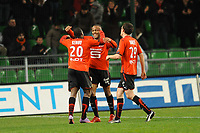 FOOTBALL - FRENCH CHAMPIONSHIP 2009/2010 - L1 - STADE RENNAIS v TOULOUSE FC - 20/03/2010 - PHOTO PASCAL ALLEE / DPPI - JOY JIRES KEMBO EKOKO AFTER HIS GOAL. HE IS CONGRATULATED BY JIMMY BRIAND  AND ROMAIN DANZE (REN)
