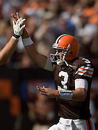 COPYRIGHT DAVID RICHARD.Cleveland quarterback Derek Anderson gets a high-five from a teammate after a Browns touchdown..The Cleveland Browns defeated visiting Cincinnati 51-45, Sunday, September 16, 2007..