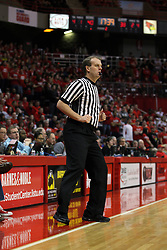 13 February 2013:  referee Randy Heimerman during an NCAA Missouri Valley Conference mens basketball game where the Bradley Braves were defeated by Illinois State Redbirds 79-59 in Redbird Arena, Normal IL