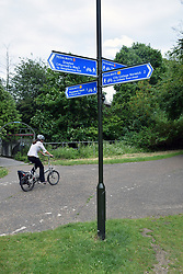 Marriot's Way (cycle path) & pedalways signs, Wensum Park, Norwich UK