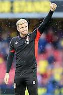 Eddie Howe, the Bournemouth manager giving a thumbs up towards the AFC Bournemouth away fans after the final whistle. Premier league match, Watford v AFC Bournemouth at Vicarage Road in Watford, London on Saturday 1st October 2016.<br /> pic by John Patrick Fletcher, Andrew Orchard sports photography.