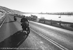 Bartek Mizerski riding his 1936 Sokol 1000 Polish motorcycle along the Snake River during Stage 15 (244 miles) of the Motorcycle Cannonball Cross-Country Endurance Run, which on this day ran from Lewiston, Idaho to Yakima, WA, USA. Saturday, September 20, 2014.  Photography ©2014 Michael Lichter.