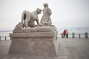 "Monument in Hoedong (Jindo island) showing praying grandmother ""Old Lady Pong"" and a tiger related to the Jindo myth. Jindo is the 3rd biggest island in South Korea located in the South-West end of the country and famous for the ""Mysterious Sea Route"" or ""Moses Miracle"" which is happening during full moon in spring."