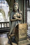 Tomb monument of  Marie Antoinette (1755 - 1793) Queen of France and wife of Louis XVI.   The Gothic Cathedral Basilica of Saint Denis ( Basilique Saint-Denis ) Paris, France. A UNESCO World Heritage Site.