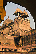 Details of the architecture inside the Amber Fort, Jaipur, India<br /> The Amer Fort, was built over the remnants of an earlier structure during the reign of Raja Man Singh, Commander in Chief of Akbar's army in 1592.The structure was expanded by his descendants, over the next 150 years