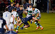 Sale Sharks flanker Cobus Wiese tackles Newcastle Falcons centre Luther Burrell during a Gallagher Premiership Round 12 Rugby Union match, Friday, Mar 05, 2021, in Eccles, United Kingdom. (Steve Flynn/Image of Sport)