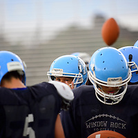 082113  Adron Gardner/Independent<br /> <br /> Window Rock Scouts form up during football practice in Fort Defiance Wednesday.