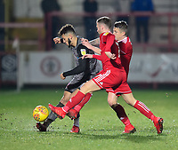 Lincoln City's Kellan Gordon vies for possession with Accrington Stanley's Jordan Clark<br /> <br /> Photographer Andrew Vaughan/CameraSport<br /> <br /> The EFL Checkatrade Trophy Second Round - Accrington Stanley v Lincoln City - Crown Ground - Accrington<br />  <br /> World Copyright © 2018 CameraSport. All rights reserved. 43 Linden Ave. Countesthorpe. Leicester. England. LE8 5PG - Tel: +44 (0) 116 277 4147 - admin@camerasport.com - www.camerasport.com