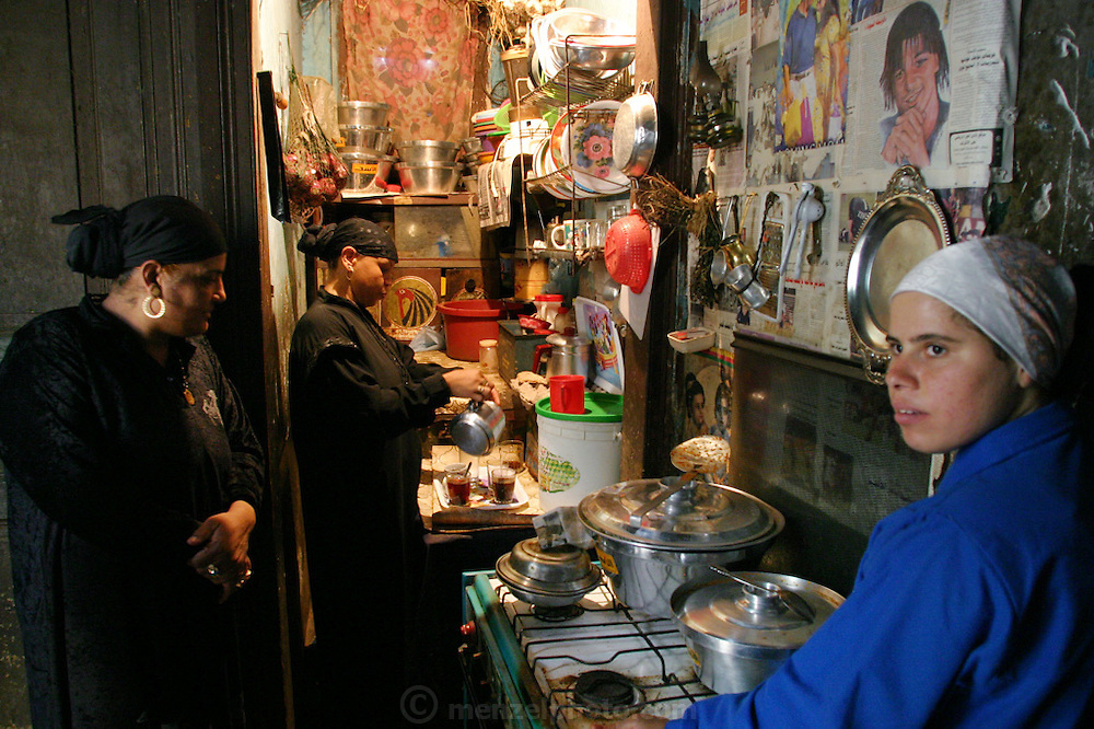 The small kitchen of a family living in a large tomb in the city of the dead in Cairo, Egypt. They are acting as caretakers.