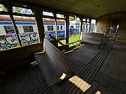 Strasshof, Austria.<br /> Triebwagentage (railcar days) at Das Heizhaus - Eisenbahnmuseum Strasshof, Lower Austria's newly designated competence center for railway museum activities.<br /> Diesel railcars ÖBB Type 5046 (built 1954-1961, running until 1997), seen from aboard a decaying wooden passenger carriage.