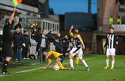 Falkirk's Thomas Grant  tackled by Dunfermline's Josh Falkingham..Dunfermline 0 v 1 Falkirk, 26/12/2012..©Michael Schofield.