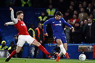 Alvaro Morata of Chelsea (R) in action. Carabao Cup , semi final 1st leg match, Chelsea v Arsenal at Stamford Bridge in London on Wednesday 10th January 2018.<br /> pic by Steffan Bowen, Andrew Orchard sports photography.