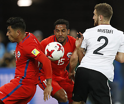 July 3, 2017 - Saint Petersburg, Russia - (L to R) Gonzalo Jara of Chile national team, Jean Beausejour of Chile national team and Shkodran Mustafi of Germany national team during FIFA Confederations Cup Russia 2017 final match between Chile and Germany at Saint Petersburg Stadium on July 2, 2017 in Saint Petersburg, Russia. (Credit Image: © Mike Kireev/NurPhoto via ZUMA Press)