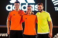 "Real Madrid players Alvaro Morata, Lucas Vazquez and Nacho Fernandez during the presentation of the new pack of Adidas football shoes ""Speed of Light"" in Madrid. September 16, 2016. (ALTERPHOTOS/Borja B.Hojas)"