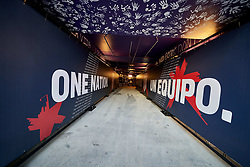 March 21, 2019 - Orlando, FL, U.S. - ORLANDO, FL - MARCH 21: A detailed view of the players tunnel is seen decorated with the United States One Nation logo in game action during an International friendly match between the United States and Ecuador on March 21, 2019 at Orlando City Stadium in Orlando, FL. (Photo by Robin Alam/Icon Sportswire) (Credit Image: © Robin Alam/Icon SMI via ZUMA Press)