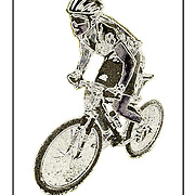 """Bicycling Postcard - Primitive MTB. Suitable for use on a 4"""" x 6"""" printed postcard."""