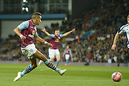 Scott Sinclair of Aston Villa crossing the ball. The FA cup, 6th round match, Aston Villa v West Bromwich Albion at Villa Park in Birmingham, Midlands on Saturday 7th March 2015<br /> pic by John Patrick Fletcher, Andrew Orchard sports photography.