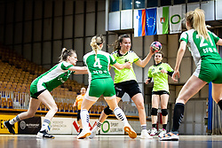 Larisa Peterlin of ZRK Krka Novo Mesto and Hana Gabrovsek of RK Olimpija during handball match between RK Olimpija and ZRK Krka Novo Mesto in Round #10 of National Youth League in Season 2020-21, on May 2, 2021 in Hala Tivoli, Ljubljana, Slovenia. Photo by Matic Klansek Velej / Sportida