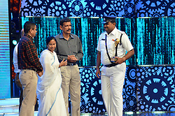 August 17, 2017 - Kolkata, West Bengal, India - West Bengal Chief Minister Mamata Banerjee ( second from left) during Kolkata Police's program Jai Ho. (Credit Image: © Saikat Paul/Pacific Press via ZUMA Wire)