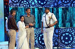August 17, 2017 - Kolkata, West Bengal, India - West Bengal Chief Minister Mamata Banerjee ( second from left) during Kolkata Police's program Jai Ho. (Credit Image: © Saikat Paul/Pacific Press via ZUMA Wire)