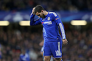 Eden Hazard of Chelsea scratching his head. UEFA Champions league group G match, Chelsea v Porto at Stamford Bridge in London on Wednesday 9th December 2015.<br /> pic by John Patrick Fletcher, Andrew Orchard sports photography.