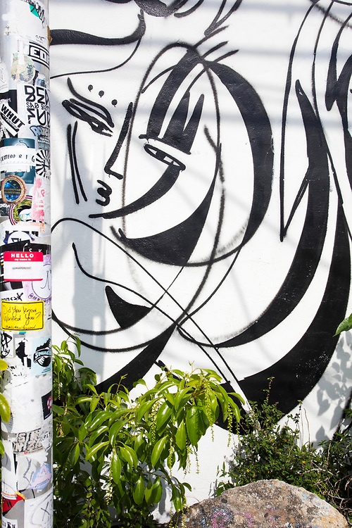 Mural of a woman in Miami's Wynwood street art district