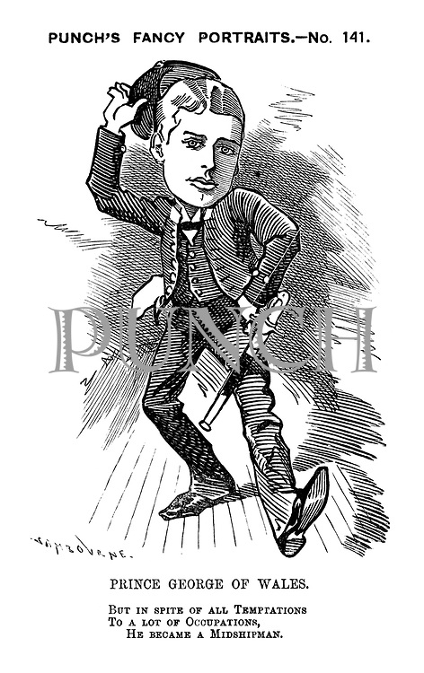Punch's Fancy Portraits. - No. 141. Prince George of Wales. But in spite of all temptations to a lot of occupations, he became a midshipman.