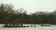 2004_Oxford University Trail Eights, Putney, London:ENGLAND. 14.12.04. Crew list. OUBC [right to left].Indians [Middlx] [left].Bow Jamie Anderson, Nick Thomas-Peter, Robin Esmond-Frej, Jo Von Maltzahn, Peter Reed, Colin Smith, Robin Bourne-Taylor [President] Barney Williams. and cox Nick Brodie..Cowboys [Surrey].Bow Jake Sattlemair, Andrew Keats, Andrew Brennan, David Livingstone, Michael Blomquist. Henry Morris, Andy Triggs Hodge and cox Acer Nethercott..Photo Peter Spurrier.email images@intersport-images.com. ...........[Mandatory Credit Peter Spurrier/ Intersport Images] Varsity:Boat Race, Rowing Course: River Thames, Championship course, Putney to Mortlake 4.25 Miles